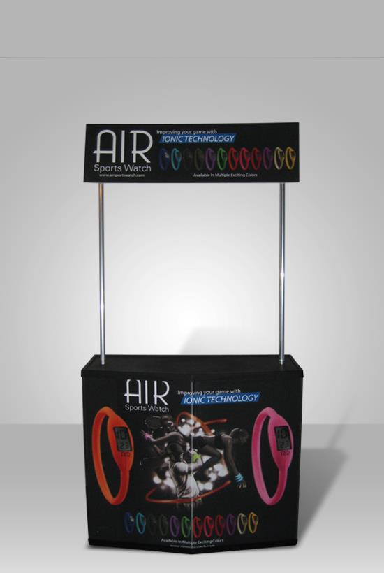 sampling stand promo air front view